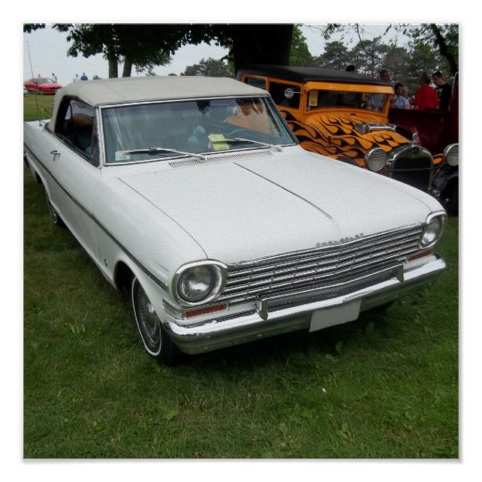white chevy 1963 nova with chrome front view poster
