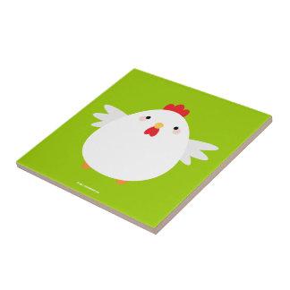 White Chicken on Green Ceramic Tile