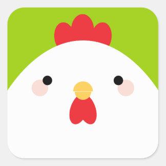 White Chicken Square Sticker