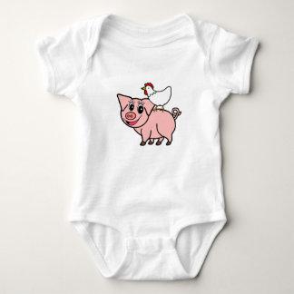 White Chicken Standing on Pink Pig Baby Bodysuit
