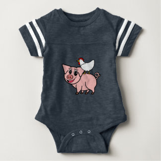 White Chicken Standing on Pink Pig Baby Bodysuit