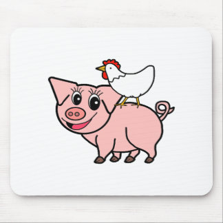 White Chicken Standing on Pink Pig Mouse Pad
