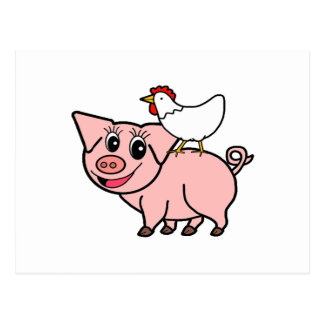 White Chicken Standing on Pink Pig Postcard