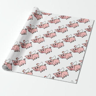 White Chicken Standing on Pink Pig Wrapping Paper