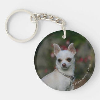 White Chihuahua Double-Sided Round Acrylic Keychain