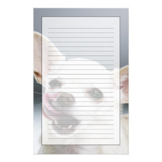White Chihuahua licking lips Personalized Stationery