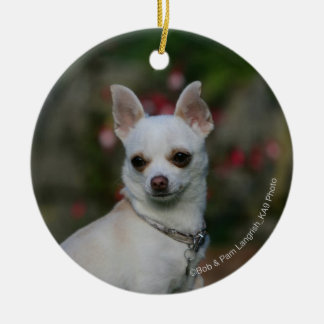 White Chihuahua Round Ceramic Ornament