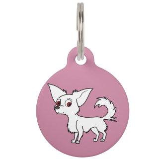 White Chihuahua with Long Hair Pet Nametags