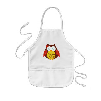 White Childish apron - Yellow Owl