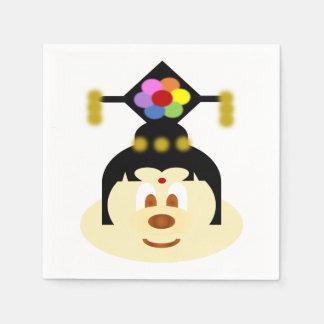 White Chn Female Hat 鮑 鮑 Paper Napkin