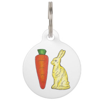 White Chocolate Bunny Rabbit Carrot Easter Candy Pet ID Tag
