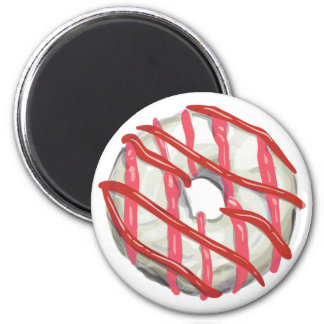 White Chocolate Dipped Doughnut. 2 Inch Round Magnet