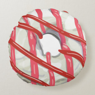 White Chocolate Dipped Doughnut Round Pillow