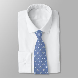 White Christian Fish Symbol Pattern | Blue Grey Tie