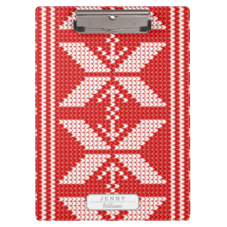 White Christmas Abstract Jumper Knit Pattern Clipboard