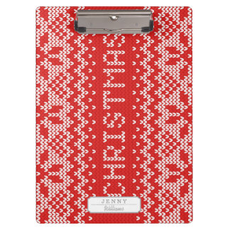 White Christmas Abstract Knitted Pattern Clipboard