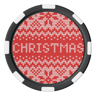 White Christmas Abstract Knitted Pattern Poker Chips
