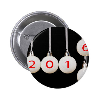 White christmas balls with dates 2015 and 2016 2 inch round button