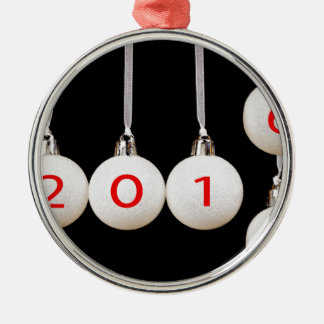 White christmas balls with dates 2015 and 2016 Silver-Colored round ornament