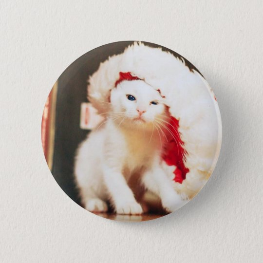 White Christmas Cat 2 Inch Round Button