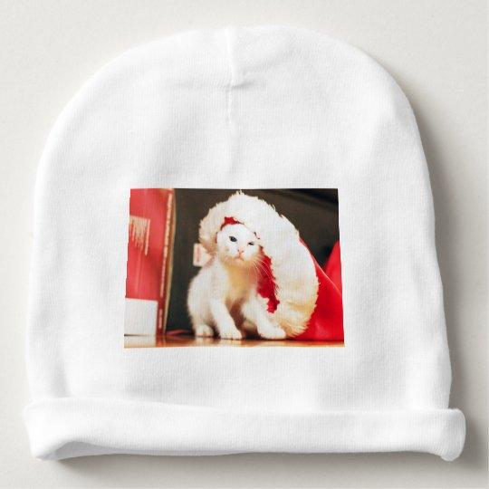 White Christmas Cat Baby Beanie