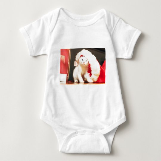 White Christmas Cat Baby Bodysuit