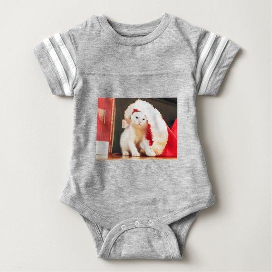 White Christmas Cat Baby Bodysuit