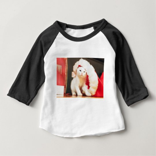 White Christmas Cat Baby T-Shirt