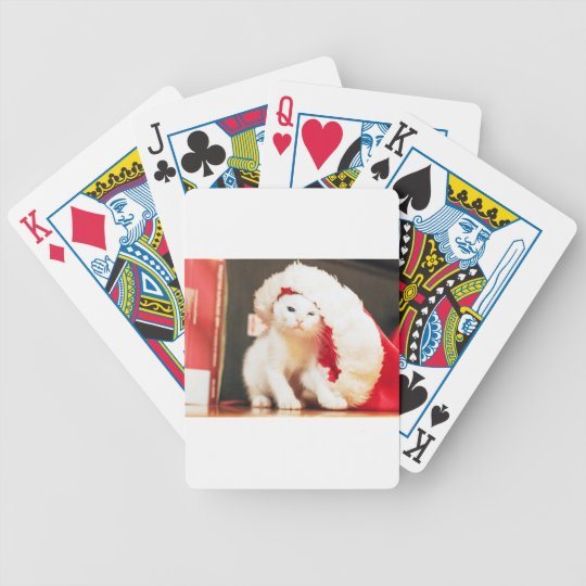White Christmas Cat Bicycle Playing Cards