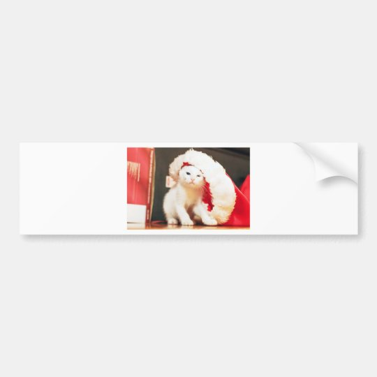 White Christmas Cat Bumper Sticker