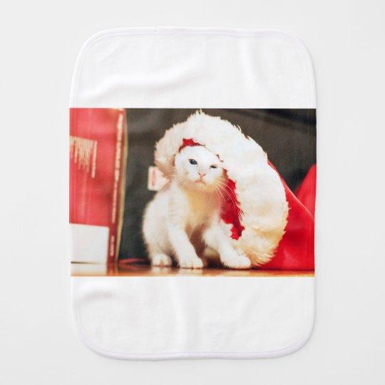 White Christmas Cat Burp Cloth