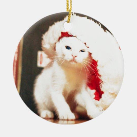 White Christmas Cat Ceramic Ornament