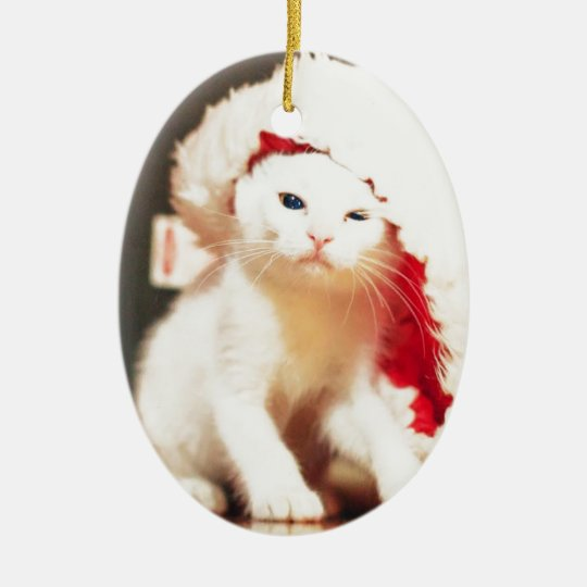 White Christmas Cat Ceramic Ornament