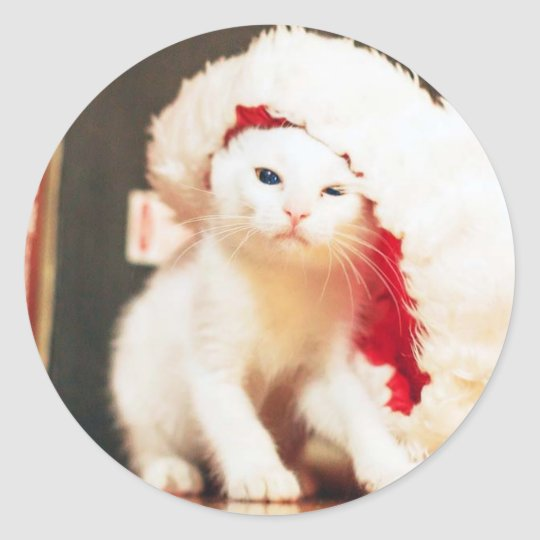 White Christmas Cat Classic Round Sticker