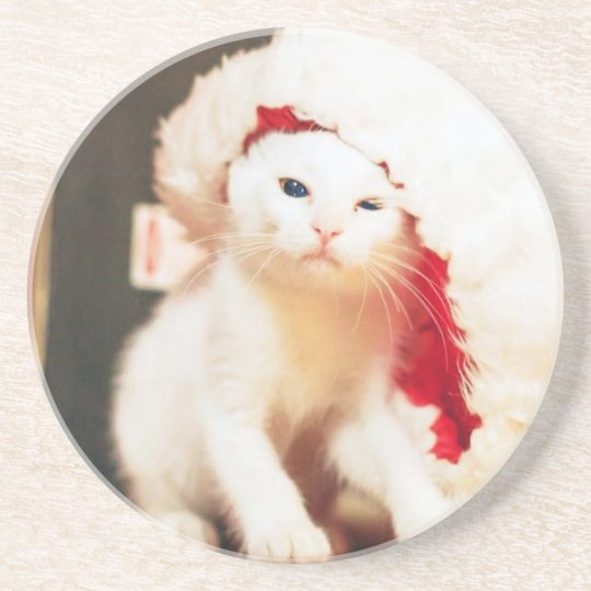 White Christmas Cat Coaster