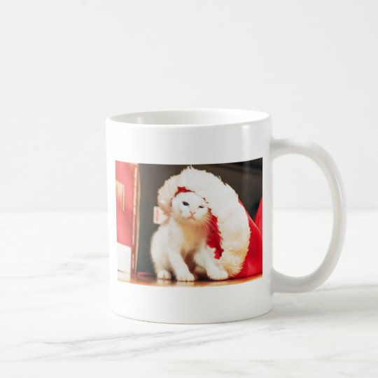 White Christmas Cat Coffee Mug