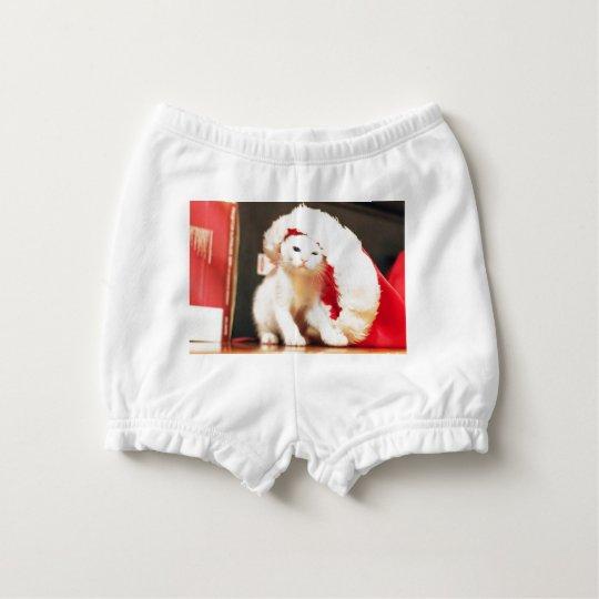White Christmas Cat Diaper Cover