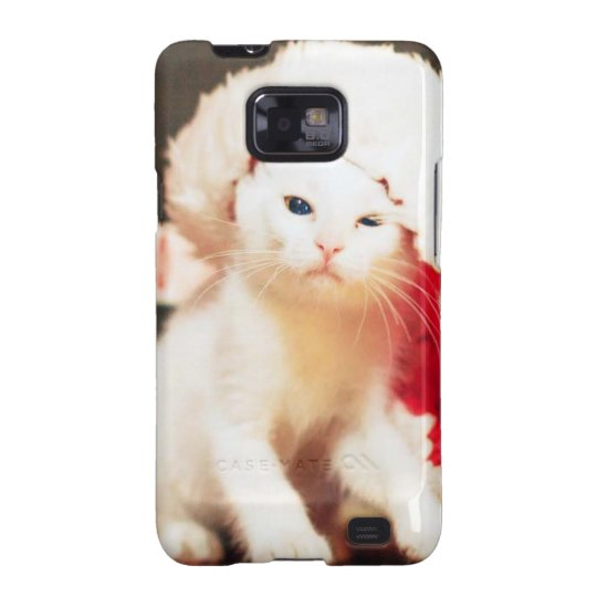 White Christmas Cat Galaxy S2 Cases