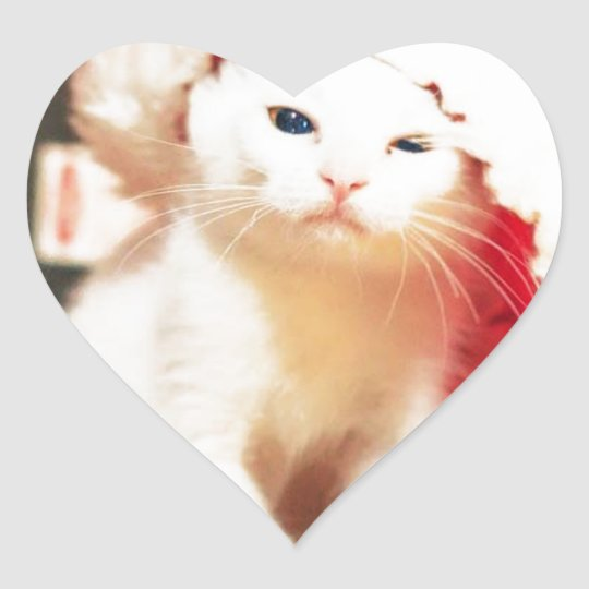 White Christmas Cat Heart Sticker