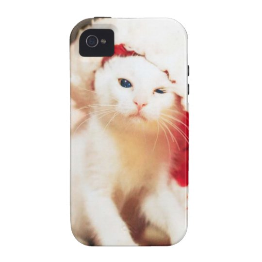 White Christmas Cat iPhone 4 Cases