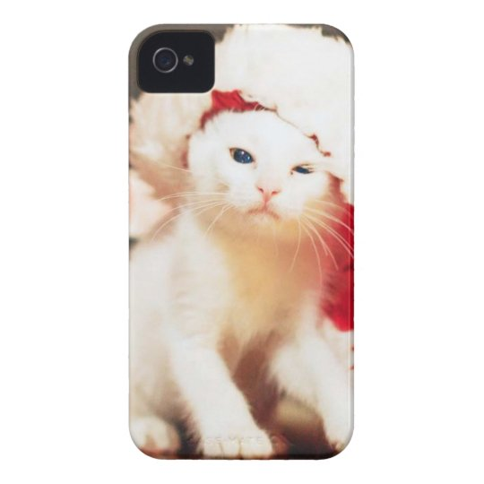 White Christmas Cat iPhone 4 Cover