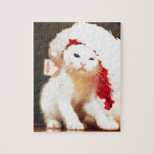 White Christmas Cat Jigsaw Puzzle