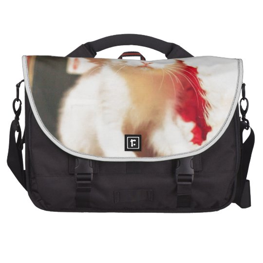 White Christmas Cat Laptop Commuter Bag