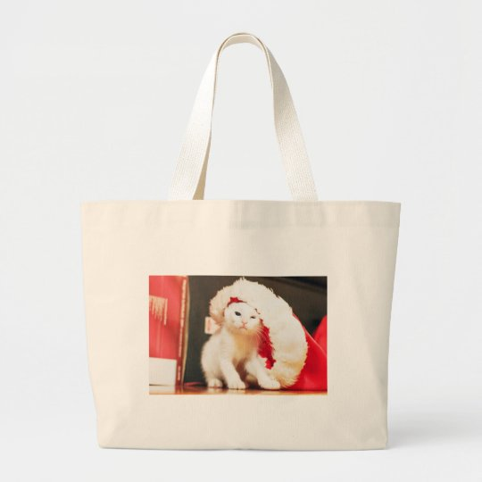 White Christmas Cat Large Tote Bag
