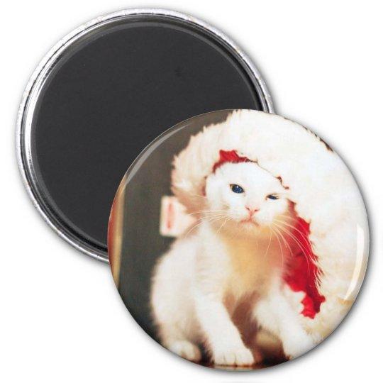 White Christmas Cat Magnet