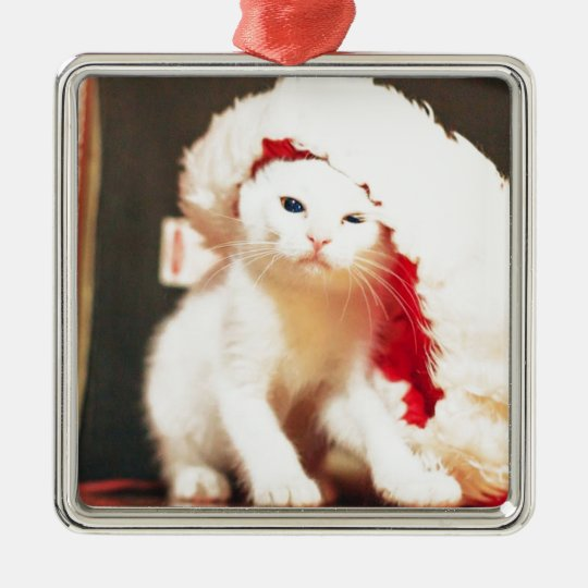 White Christmas Cat Metal Ornament