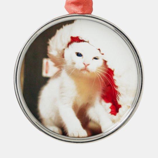 White Christmas Cat Metal Ornament