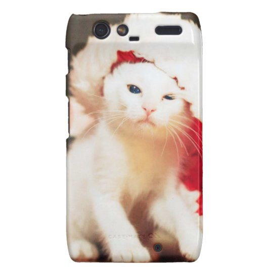 White Christmas Cat Motorola Droid RAZR Case