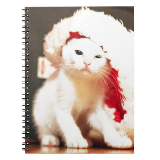 White Christmas Cat Notebook