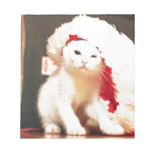 White Christmas Cat Notepad